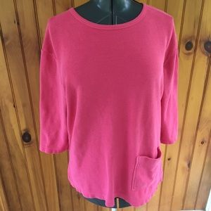 Orvis woman's pink 1 pocket cotton tunic top